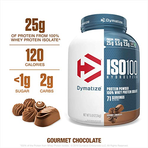 Price comparison product image Dymatize ISO100 Hydrolyzed Protein Powder,  100% Whey Isolate Protein,  25g of Protein,  5.5g BCAAs,  Gluten Free,  Fast Absorbing,  Easy Digesting,  Gourmet Chocolate,  5 Pound