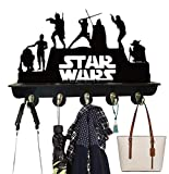 Star Wars Coat Rack Shelf Coat Hooks Key Holder Death Star Modern Wooden Hook Rack with 5 Study Hooks and Upper Shelf for Storage for Hallway Living Room Bedroom