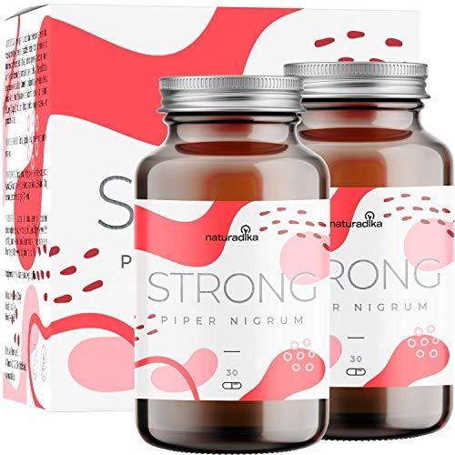 PIPER NIGRUM STRONG per donna e uomo | Triple azione fit&shape | Con Piperina, Capsimax, Guarana, Colina e Vitamina B3 | 30+30 capsule