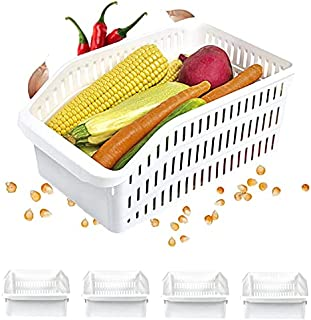 Homelife - Lot de 4 Bacs de Rangement Réfrigérateur FRIMAX - Transparent pour refrigerateur Tiroir Organisateur Panier leg...