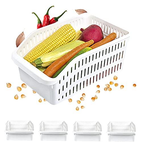 Homelife – Juego de 4 bandejas de almacenamiento refrigerador FRIMAX – Transparente para refrigerador, cajón, organizador de cesta legumbres, congelador resistente, caja de cocina, limpieza (mediano)