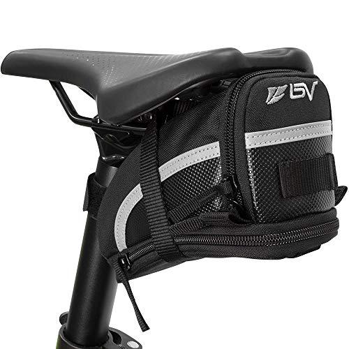 BV(ビーブイ) 自転車 サドルバッグ ストラップ式 自転車バッグ シートバッグ 容量拡張 耐水性 (Medium)
