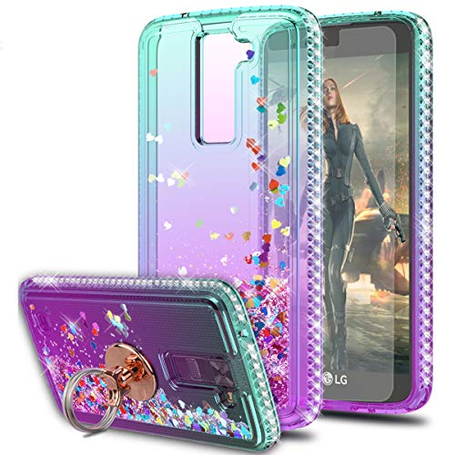 LG Phoenix 2 Case LG K350 Case LG Escape 3 Case with HD Screen Protector with Ring Holder,KaiMai Glitter Moving Quicksand Clear Cute Shiny Girls Women Phone Case for LG K8 2016-Aqua/Purple Ring