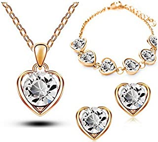 18K Gold Plated Crystal Heart Shape Sets for Women Necklace Earrings Sets