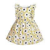 I3CKIZCE Vestido informal para bebé o niña, de encaje, cuello alto, de manga larga, con botones, 1-8 años amarillo1 3-4 Años