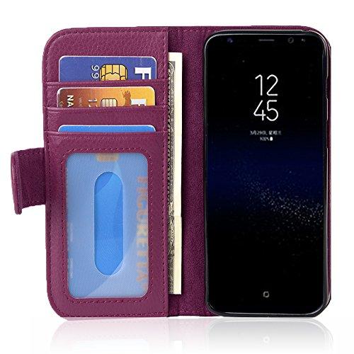 Cadorabo Funda Libro para Samsung Galaxy S8 en Burdeos Violeta – Cubierta Proteccíon con Cierre Magnético e 3 Tarjeteros – Etui Case Cover Carcasa