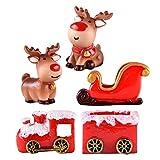 LIOOBO 5 PCs de Navidad de Resina Elk Tren de Trineo Estatua de Objetos en Miniatura Adornos de...