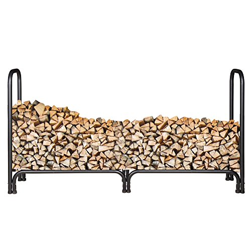 Why Choose Sundale Outdoor Heavy Duty Double Log Rack Black Firewood Holder with Cover, 8-Feet