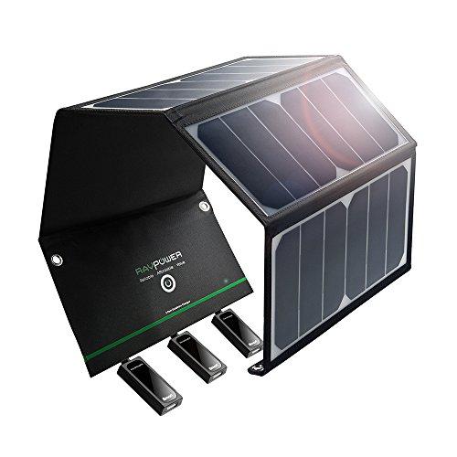 RAVPower 24W Solar Ladegerät mit 3 USB Port, USB Solar Panel 21,5-23,5% Umwandlungseffizienz, leicht, faltbar, wasserdicht für Camping Wanderung Bergsteigerei für iPhone, iPad, Galaxy Series usw.