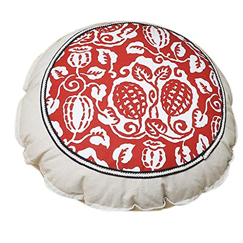 yueyang 55cm Pastoral Round Floor Pillow Futon Ethnic Floral Thick Seat Cushion Pads
