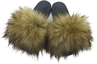 AuapTavw Women's Faux Fur Slide Slippers Fuzzy Slides Fluffy Sandals Open Toe Indoor Outdoor