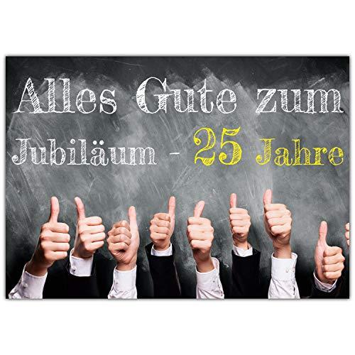 A4 XXL 25 Jubiläum Karte DAUMEN HOCH mit Umschlag - edle Jubiläumskarte - Glückwunschkarte zum 25. Dienstjubiläum Firmenjubiläum von BREITENWERK