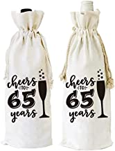 Warehouse No.9 Cheers to 65 Years Funny 65th Birthday Wine Bottle Bags Party Decorations Supplies Present for Friend, Women, Wife, Husband, Mom, Grandma, Pack of 2