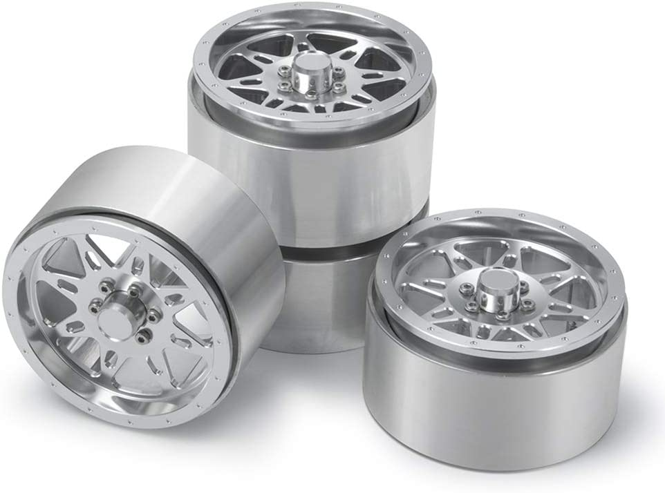 Red 4Pcs Alloy 2.2 Beadlock Wheels//Rims for 1//10th SCX10 Axial Wraith 90048 RC Crawler Car