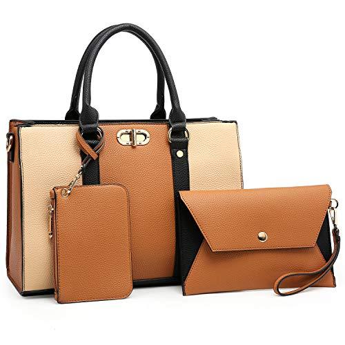 Dasein Women Handbags Top Handle Satchel Purse with Matching Wallet Set 3Pcs (Brown/Beige)