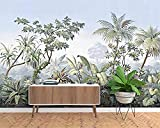 Papel tapiz mural fotográfico 3D estilo europeo pintado a mano jardín madera bosque tropical plátano palmera mural retro papel pintado a papel pintado pared dormitorio autoadhesivo wall-400cm×280cm