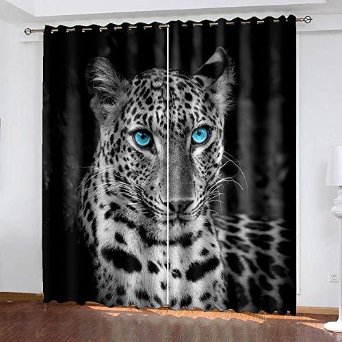 XKSJWY Cortinas Salon Dormitorio Moderno 2 Piezas 3D Arte Leopardo Animal Blanco Y Negro Patrón Cortinas Ventana Opacas Termicas Aislantes Frio Y Calor, Cortinas Habitacion Juvenil con Ojales 280X260