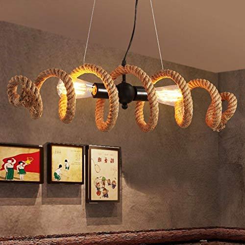 Lámpara colgante Edison vintage E27 Portalámparas Lámpara de cuerda de cáñamo industrial retro antigua Hierro 2 llamas Personalidad Marrón Espiral rústico Máx. 60W L70cm