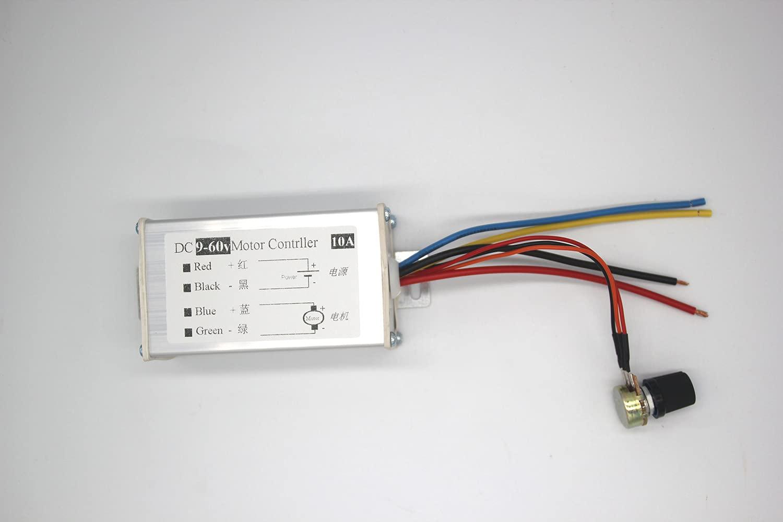 Controlador de velocidad del motor CC, módulo de control del motor de cepillo, CC 9 V-60 V, 12 V, 24 V, 36 V, 48 V, 60 V, modulación de ancho de pulso del motor PWM, accionamiento lineal