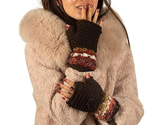 Warm Winter 100% Wool Fingerless Gloves Arm Warmers Hand Knit Crochet Pink Woman (Brown Splash)