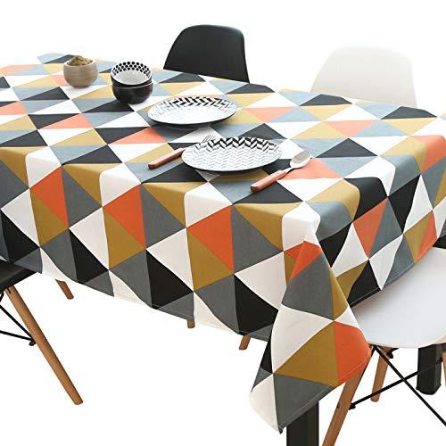 Mantel antiincrustante Rectangular de poliéster, patrón de Diamante Triangular, Mantel de Cocina para Mesa de Comedor, Fiesta de Picnic y jardín, Naranja 140 * 300 cm