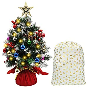 Joiedomi 21″ Prelit Tabletop Christmas Tree, Snow-Flocked Artificial Christmas Tree with Pine Cones and Burlap Base, with Decoration Kit for Christmas Tabletop Decoration