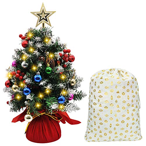 Joiedomi 21' Prelit Tabletop Christmas Tree, Snow-Flocked Artificial Christmas Tree with Pine Cones and Burlap Base, with Decoration Kit for Christmas Tabletop Decoration
