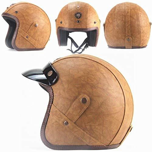 IAMZHL Helme 3/4 Motorrad Fahrradhelm Vintage Motorradhelm mit offenem Gesicht und Schutzbrillenmaske-Brown Leather-1-XXL