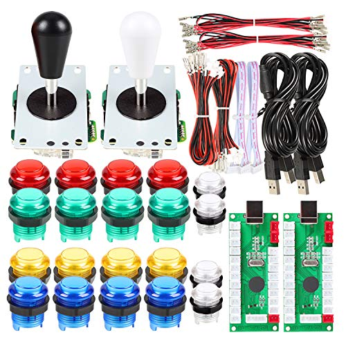 Avsiri 2 Player LED Arcade DIY Parts 2X USB Encoder + 2X Ellipse Oval Style Joystick + 20x LED Arcade Buttons for PC MAME Raspberry Pi Windows (Mixed Color Kit)