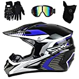 PKFG AO-340 Full face Motocross Helm, Adult Helm Sport Adventure Enduro Motorradhelme Motocross Schutzhelm Unisex MTB Schutz Sicherheit Helm mit Handschuhe Maske Brille,L56~57CM