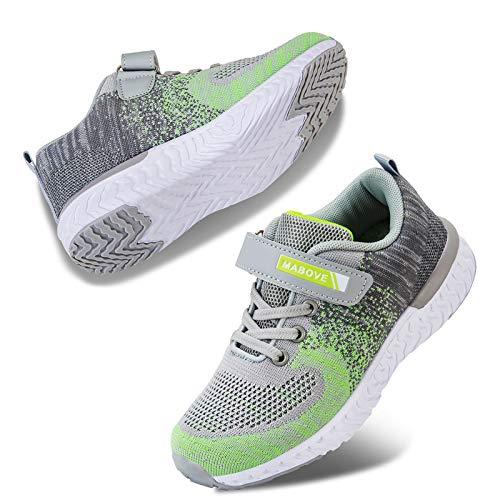 Kyopp Laufschuhe Kinder Turnschuhe für Mädchen Jungen Sportschuhe Kinderschuhe Outdoor Sneakers Klettverschluss Atmungsaktiv Unisex(4#Grau 33EU)