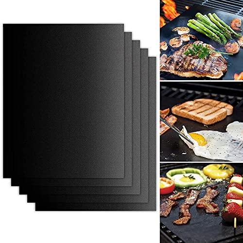 N\C BBQ Grillmatte, 5er Set Grillmatten, Antihaft Grillmatte, Grill-und Backmatte Wiederverwendbar, Perfekt für BBQ, Kohlegrill, Holzkohle - Gasgrill, Elektro Grill