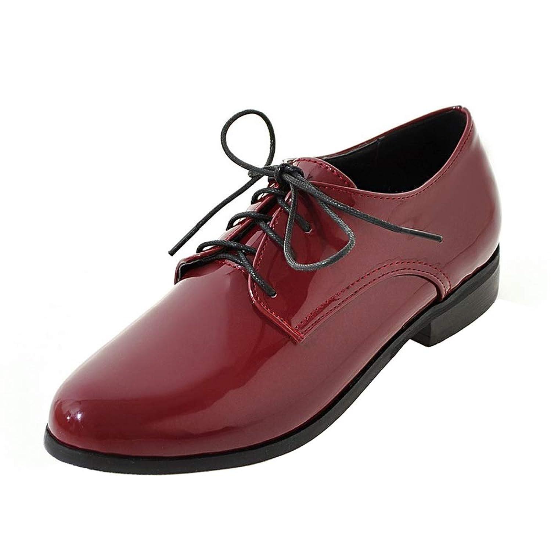 [Yasmini] ファッション レースアップ シューズ レディース ローヒール 革靴 超大きいサイズ