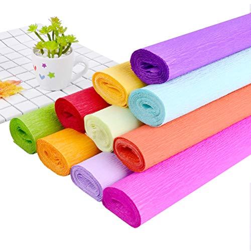 STOBOK Krepppapierrollen-Buntes Blumenkunstwerkpapier Zerknittertes Papier DIY Papier für Blumenhandwerk 10 Rollen