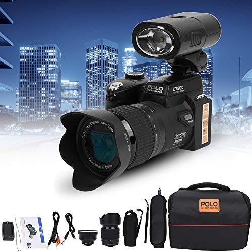 Cámara Digital Full HD, D7200 33MP Pantalla TFT LCD de 3.0 Pulgadas Videocámara Cámara DSLR Zoom óptico Incorporado 24X + Video 1080P HD con Lente Gran Angular 0.5X + Lente Telefoto 24X + luz LED