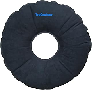 Inflatable Donut Cushion - Self Inflating Pillow for Hemorrhoids, Tailbone and Coccyx - No Pump Needed (Black)
