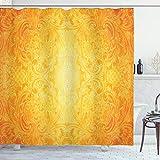 ABAKUHAUS Orange Duschvorhang, Antike Blumenverzierung, mit 12 Ringe Set Wasserdicht Stielvoll Modern Farbfest & Schimmel Resistent, 175x200 cm, Ringelblume
