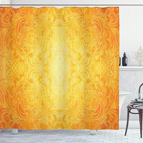 ABAKUHAUS Orange Duschvorhang, Antike Blumenverzierung, mit 12 Ringe Set Wasserdicht Stielvoll Modern Farbfest & Schimmel Resistent, 175x180 cm, Ringelblume