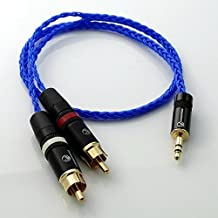 25cm 16cores Blue 4n OCC Silver Plated 1/8 3.5mm to 2 RCA Male HiFi Audio Adapter Connection Cable