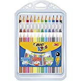 BIC Kids Set para Colorear - 12 rotuladores/12 Lápices para Colorear/12 Ceras, colores Surtidos, Estuche de 36 unidades