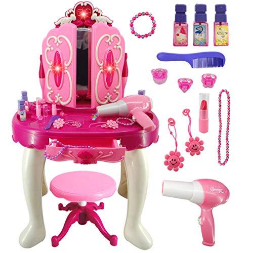 Yavso Tocador de Maquillaje para Niñas, Princesa Tocador con Accesorios Espejo, Taburete, Luz y Sonido Juguetes para Niñas