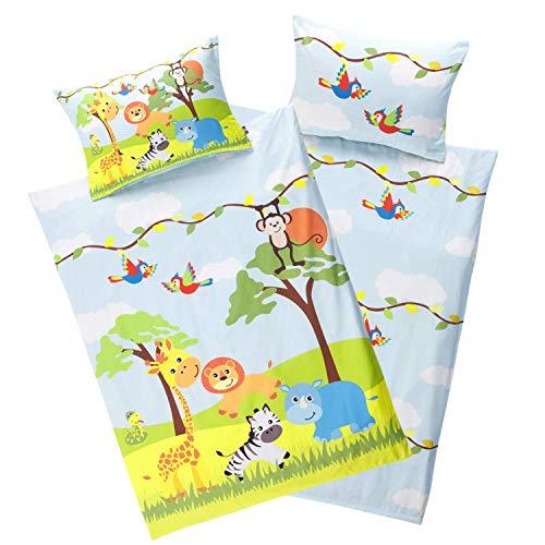 Aminata Kids Kinderbettwäsche Tiere 100 x 135 cm + 40 x 60 cm Baumwolle Reißverschluss Dschungel-Tiere, Zoo-Tier-Motiv, Kinder-Bettwäsche-Set, Giraffe, Löwe & AFFE für Jungen und Mädchen blau gelb