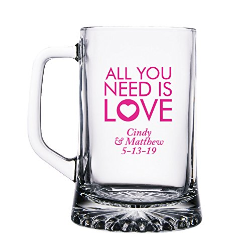 Personalized Color Printed Glass Beer Mug - All You Need Is Love - Fuchsia - 144 pack