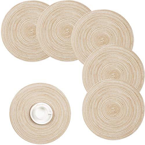 Pauwer 35 cm / 14 pulgadas Manteles individuales redondos tejidos Aislamiento Térmico Antideslizante Trenzado Tapetes de algodón para mesa (Beige, juego de 6)