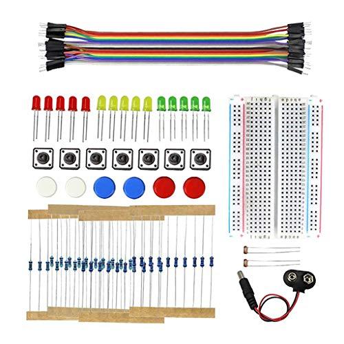 harayaa Potenciómetro LED Del Condensador de La Resistencia Del Cable de La Placa de Pruebas Del Kit de La Diversión Electrónica para