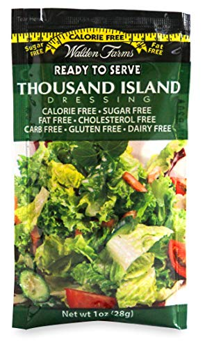 Walden Farms Thousand Island Salad Dressing - No Calories, Fat, Carbs, Sugar, Gluten, Dairy or HFCS- 1 Oz. Single Serve Packets, 100-Count (123111)