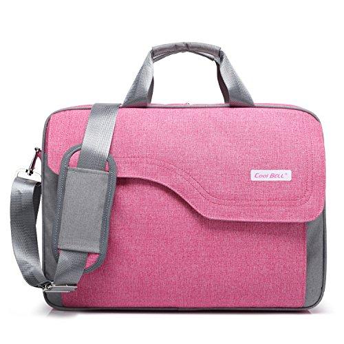 CoolBELL 17,3 Zoll Laptop Tasche Nylon Schultertasche mehrfach Abteil Messenger Bag Handtasche Tablet Aktentasche für Laptop/Tablet/MacBook,Rosa