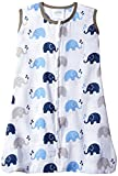 Bacati - Muslin Printed Sleeping Bag (Wearable Blankets) (Small, Elephants Blue/Grey)