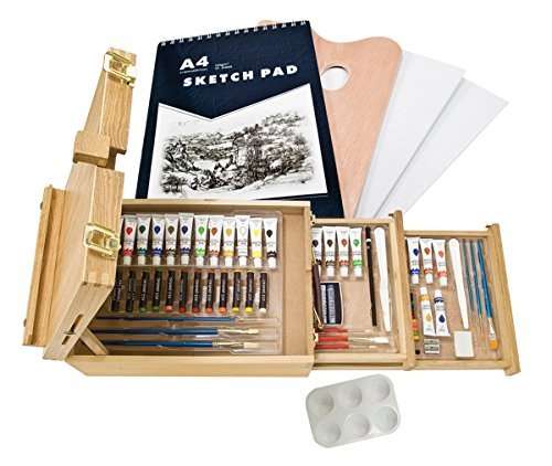 Creative Mark Fundamentals 93 Piece All Media Art Set - Deluxe Painting Set With Wooden Box Easel Mixed Media Supplies and Storage- [93 Piece Deluxe Wooden Easel Box]