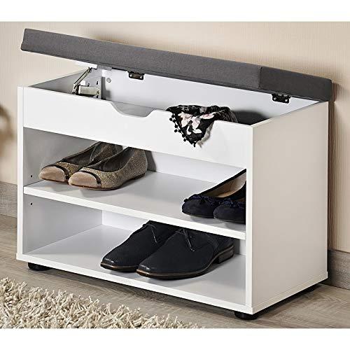 Schoenenkast met Optilbaar GRIJS Zitkussen | Schoenenbank met Optilbare Klep voor extra opslagruimte | Afm. 60 x 30 x 45 Cm. | Kleur: WIT